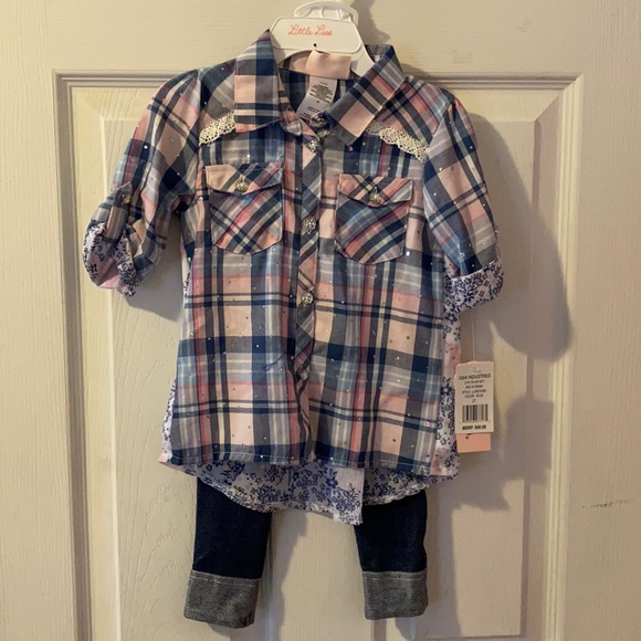 Button Down Toddler Girls Outfit NWT